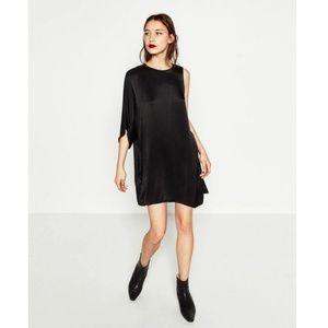 Zara Sateen Black Asymmetric Dress